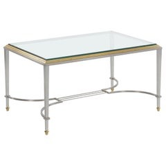 French Steel and Brass Cocktail Coffee Table in manner of Maison Jansen