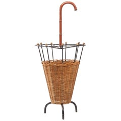 French Steel, Bronze, Rattan and Leather Umbrella Stand Attributed to Adnet