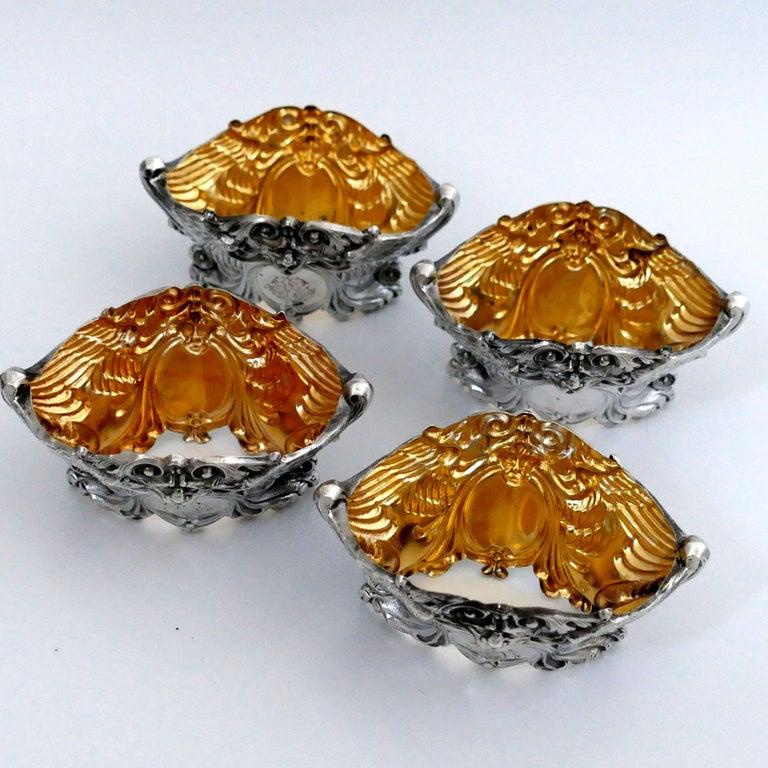 French Sterling Silver 18-Karat Gold Four Salt Cellars, Spoons, Box, Swan, Lion For Sale 6