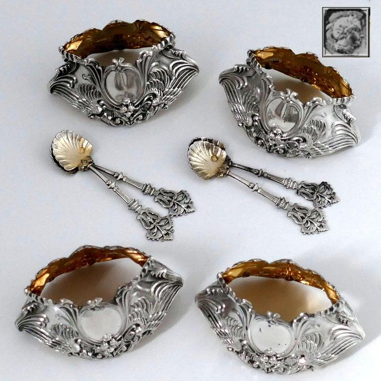 French Sterling Silver 18-Karat Gold Four Salt Cellars, Spoons, Box, Swan, Lion For Sale 7