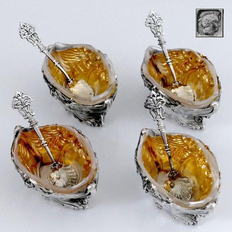 French Sterling Silver 18-Karat Gold Four Salt Cellars, Spoons, Box, Swan, Lion For Sale 1