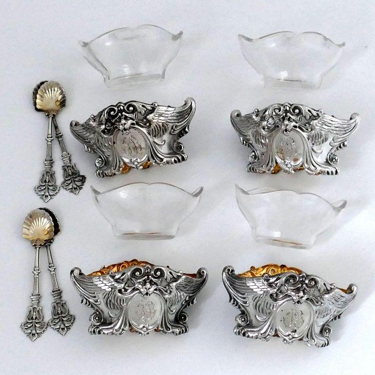 French Sterling Silver 18-Karat Gold Four Salt Cellars, Spoons, Box, Swan, Lion For Sale 2
