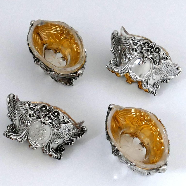 French Sterling Silver 18-Karat Gold Four Salt Cellars, Spoons, Box, Swan, Lion For Sale 3