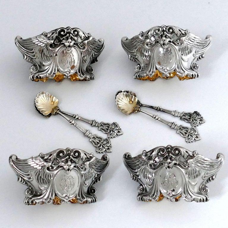 French Sterling Silver 18-Karat Gold Four Salt Cellars, Spoons, Box, Swan, Lion For Sale 4