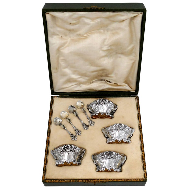 French Sterling Silver 18-Karat Gold Four Salt Cellars, Spoons, Box, Swan, Lion For Sale