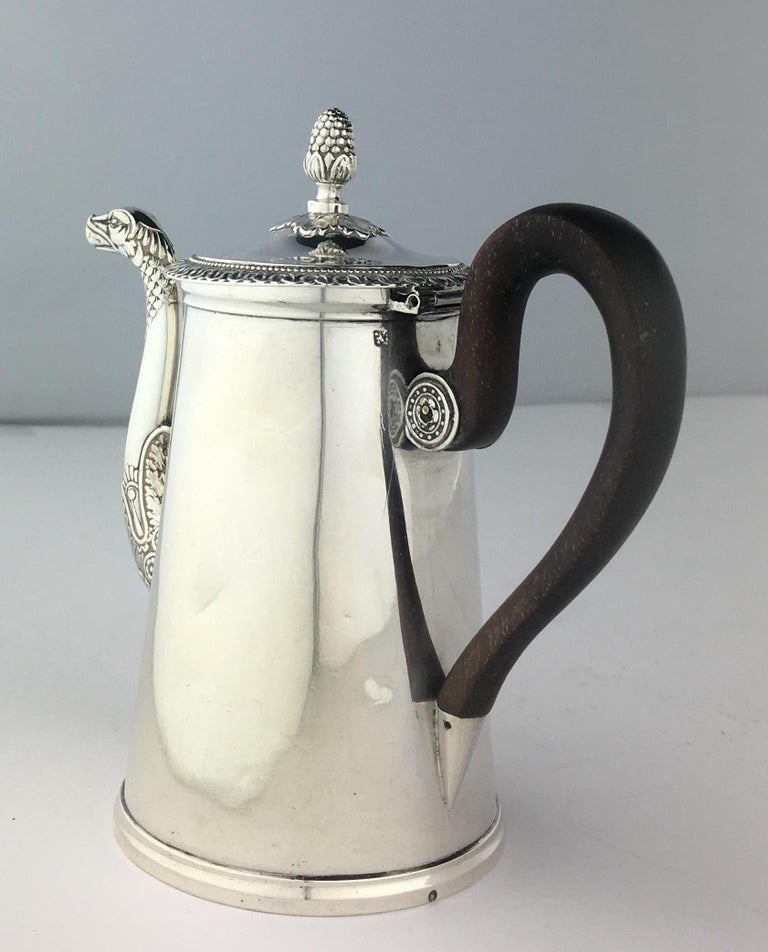 French Sterling Silver Chocolate Pot, 19th Century For Sale 4
