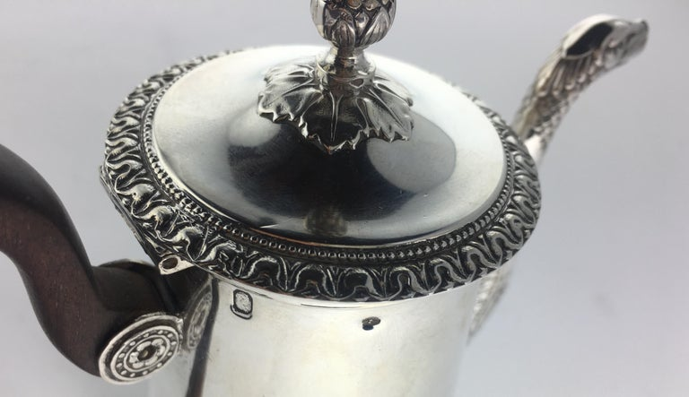 Rococo French Sterling Silver Chocolate Pot, 19th Century For Sale
