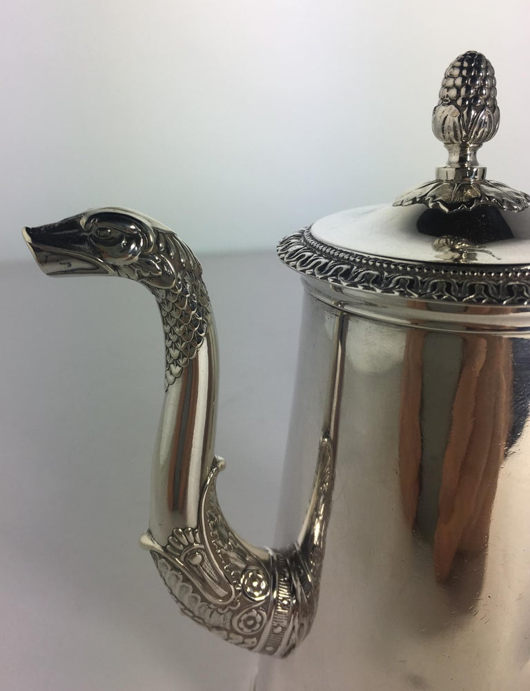 Hand-Crafted French Sterling Silver Chocolate Pot, 19th Century For Sale