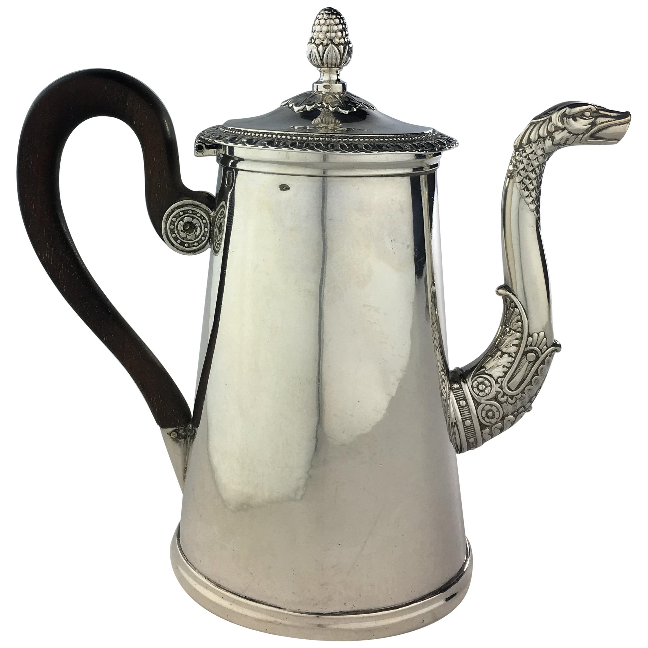 Sterling Silver Rococo Chocolate Pot, 19th Century French