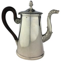 French Sterling Silver Chocolate Pot, 19th Century