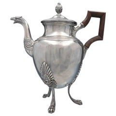 French Sterling Silver Coffee Pot with Figural Phoenix Bird Spout