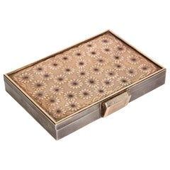 French Sterling Silver & Gold Vanity Box Case with Rubies, circa 1940, Boucheron