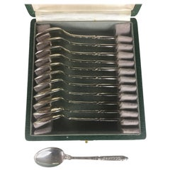 French Sterling Silver Tea Coffee Dessert Spoons Set 12 Piece, circa 1900