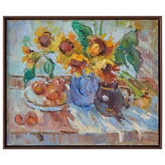 French Still Life Painting of Sunflowers