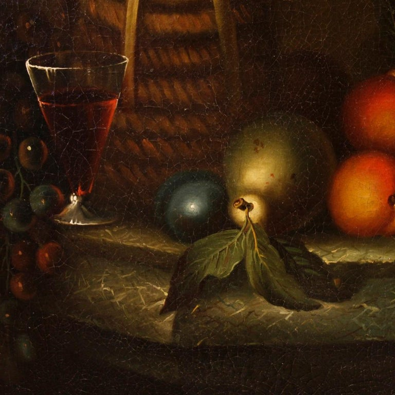 French Still Life Painting Oil on Canvas from 19th Century In Good Condition For Sale In Vicoforte, Piedmont
