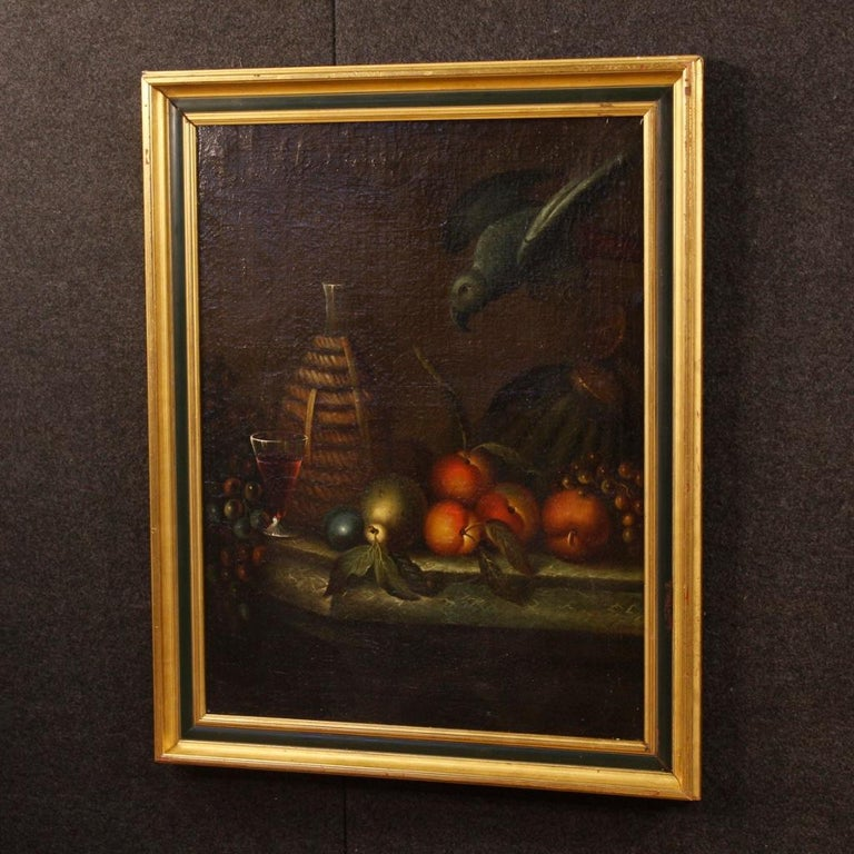 French Still Life Painting Oil on Canvas from 19th Century For Sale 6