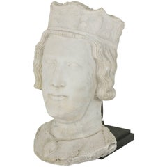 French Stone Sculpture or Mask of a Medieval King for Tabletop or Wall Display