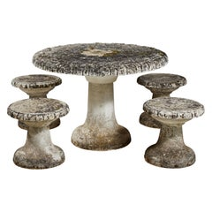 French Stone Table and Four Stone Stools