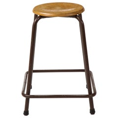 French Stool with a Wood Seat & Metal Base, c. 1950