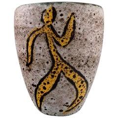 French Studio Ceramist, Large Vase in Glazed Ceramics Decorated with Dancers