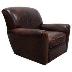 French Style Aged Leather Lounge Chair