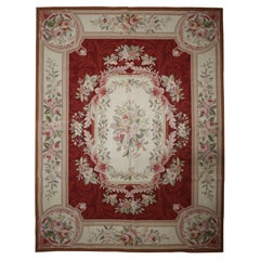 French Style Aubusson, Handwoven Carpet Red Wool Floral Rug