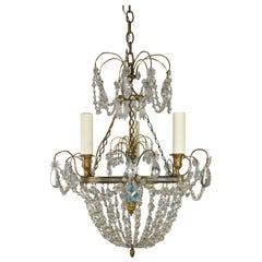 French Style Brass and Crystal Chandelier Reverse Painted Glass Center Pediment