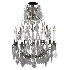 French Style Bronze and Crystal 9-Light Branch Electrified Candelabra Chandelier