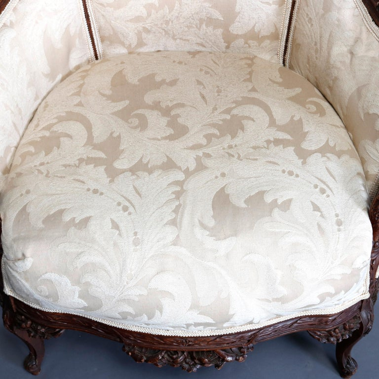 French Style Carved Mahogany Upholstered Wingback Fireside Chair, 20th Century For Sale 6