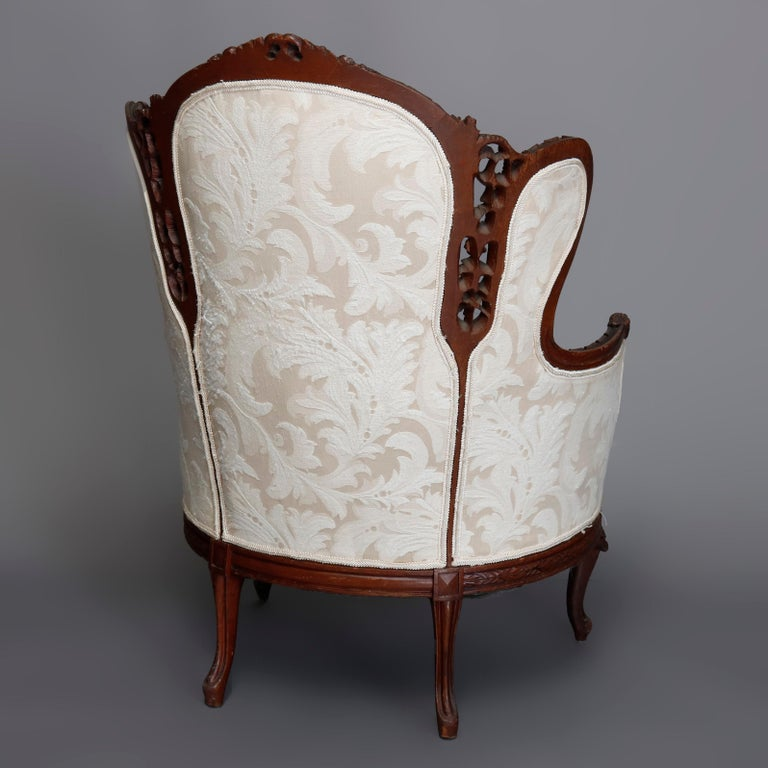 French Style Carved Mahogany Upholstered Wingback Fireside Chair, 20th Century For Sale 7