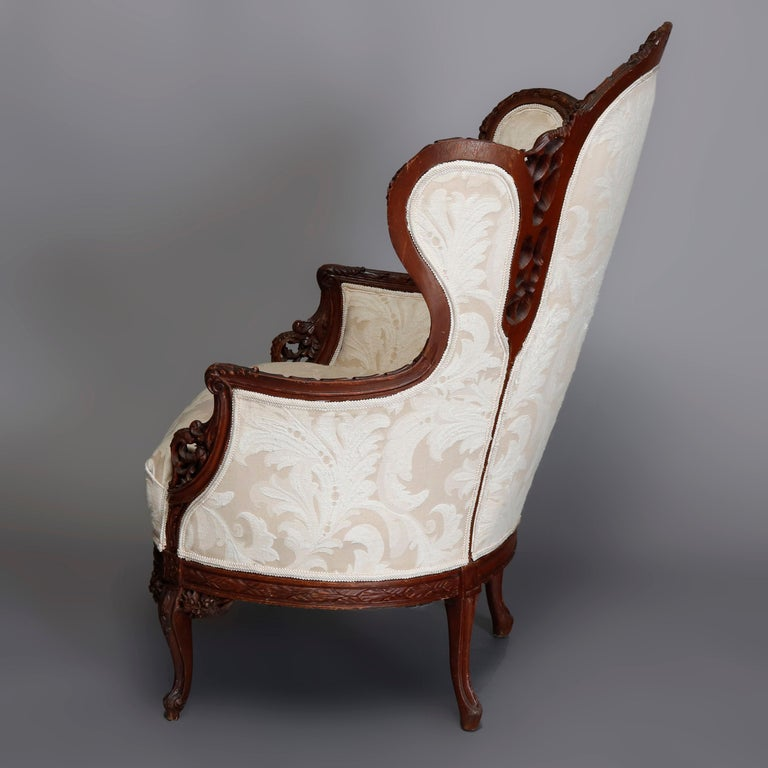 French Style Carved Mahogany Upholstered Wingback Fireside Chair, 20th Century For Sale 1