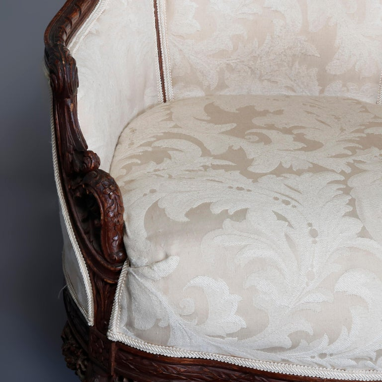 French Style Carved Mahogany Upholstered Wingback Fireside Chair, 20th Century For Sale 3