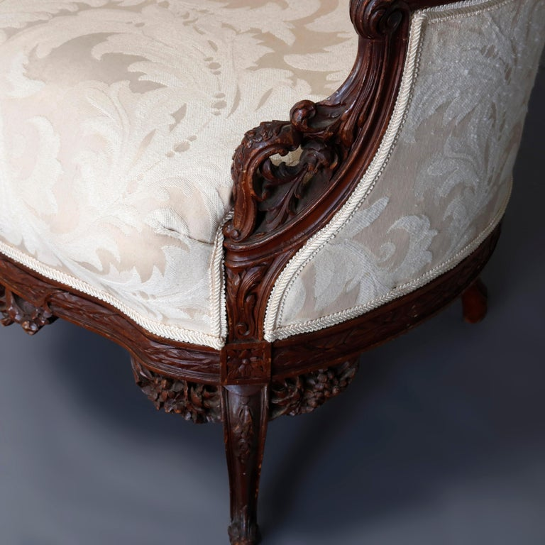 French Style Carved Mahogany Upholstered Wingback Fireside Chair, 20th Century For Sale 4
