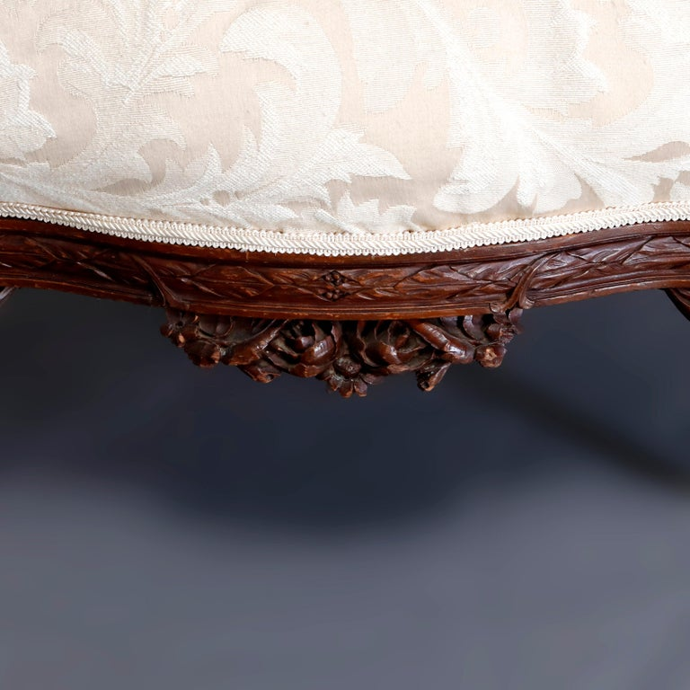 French Style Carved Mahogany Upholstered Wingback Fireside Chair, 20th Century For Sale 5