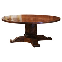 French Style Carved Walnut Walnut Round Table on Center Column Pedestal Base