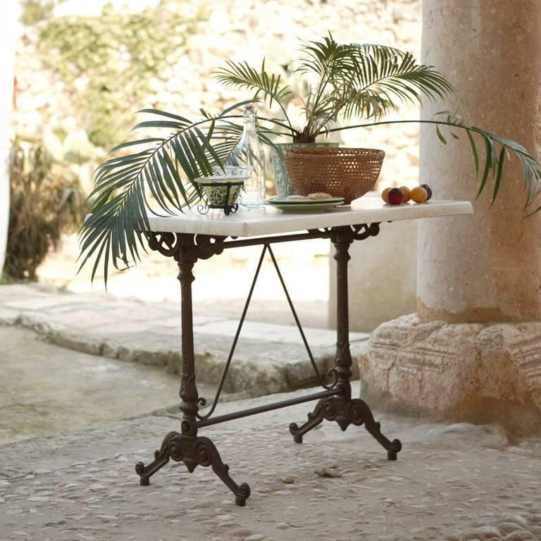 French Provincial French Style Cast Iron Base with Marble-Top Garden Table or Bistro Table For Sale