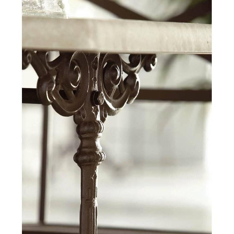 Spanish French Style Cast Iron Base with Marble-Top Garden Table or Bistro Table For Sale