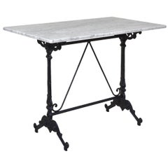 French Style Cast Iron Base with Marble-Top Garden Table or Bistro Table
