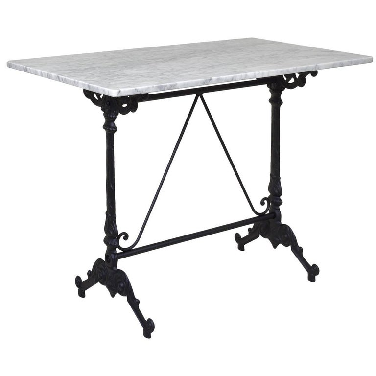 French Style Cast Iron Base with Marble-Top Garden Table or Bistro Table For Sale