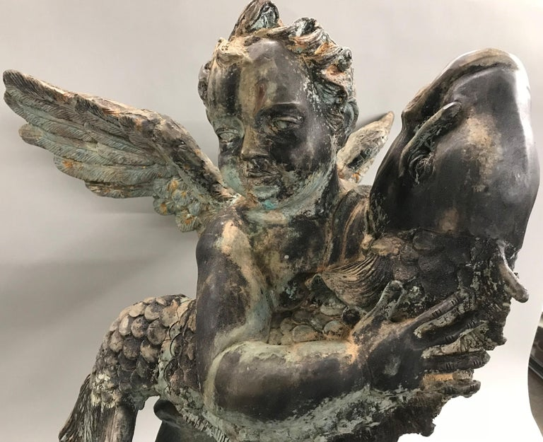French Style Cast Iron Fountain with Winged Cherub or Putti Holding a Fish For Sale 1