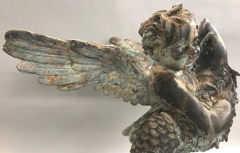 French Style Cast Iron Fountain with Winged Cherub or Putti Holding a Fish For Sale 2