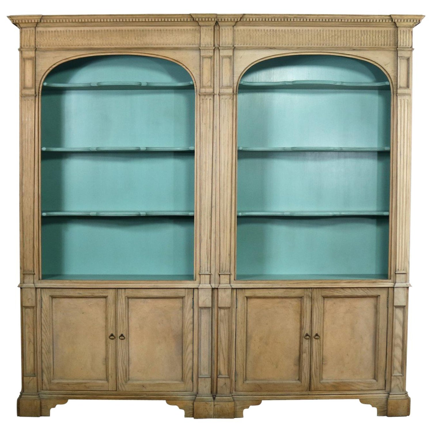 French style cerused bookcases with turquoise interior by baker furniture at 1stdibs