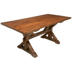 French Style Cherrywood Kitchen or Dining Room Table Copied from 17thc Table