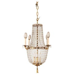 French Style Crystal Beaded Brass Chandelier