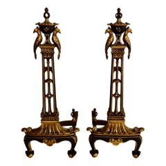 French Style Gilded Bronze Fireplace Andirons