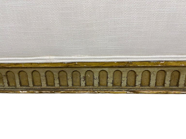 Louis XVI French Style Gilt and Green Carved Upholstered Bed Frame with Off White Linen