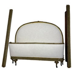 French Style Gilt and Green Carved Upholstered Bed Frame with Off White Linen