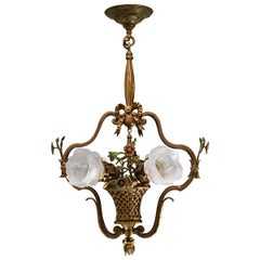 French Style Gilt Bronze Flower Basket Chandelier with Hand Painted Flowers