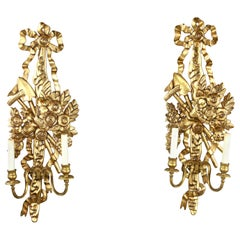 French Style Giltwood Wall Sconces with Bow and Swag Decoration, 20th Century