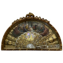 French Style Hand Painted Gilt Mother of Pearls Fan Shadow Box